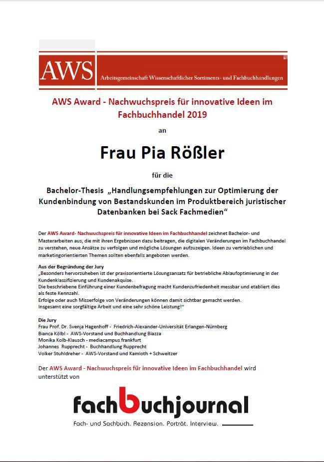 AWS Award Pia Rößler